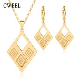 $enCountryForm.capitalKeyWord UK - CWEEL Jewelry Sets for Women Elegant Party Gift Fashion Wedding Bridal Costume Necklace and Earrings Cheap Jewelry Set