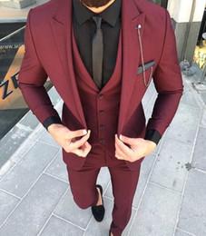 groomsmen tuxedo black silver 2019 - Custom Made Groom Wedding Tuxedos Groomsmen Burgundy Slim Suits Fit Best Man Suit Men's Suits Bridegroom Groom Wear