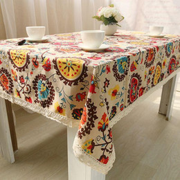 $enCountryForm.capitalKeyWord NZ - Ethnic Bohemia Style Table Cloth with Lace Cotton Sunflower Print Dustproof Rectangular Dinning Tablecloths Cover ZB-8