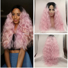 $enCountryForm.capitalKeyWord Canada - Wholesales Price Ombre Afro Kinky Curly Synthetic Lace Front Ombre Black to Light Pink Heat Resistant Hair Wigs Loose Curly Lace Front Wig