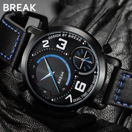 Brand Luxury Style Watch Australia - new hot BREAK men's watch top brand luxury sports style dual time zone leather business dress fashion men's quartz watch. Men's watch