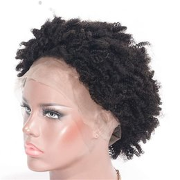 gluless human hair lace wig Australia - Brazilian Human Hair Wig Kinky Curly Lace Front Wig Natural Color Short Gluless Wig Swiss Lace for Women