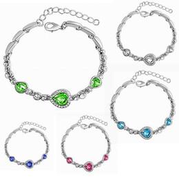 Heart ocean diamond online shopping - Fashion Women Ocean Heart Zircon Crystal Diamond Bracelet Fashion Elegant Bracelet Heart Bangle Jewelry Accessories Gifts Free DHL H176F
