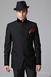flat black buttons Canada - Six Buttons Groom Tuxedos Black Mens Suits Wedding Best Man (Jacket+Pants)