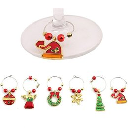 Chinese  Merry Christmas Wine Glass Ring New Year Cup Pendant Wedding Table Metal Charms Party Xmas Decor Supplies 12 5yq bb manufacturers