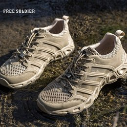 Camp Shoes For Men Australia - FREE SOLDIER Outdoor Sports Camping shoes for Men Tactical Hiking Upstream Shoes For Summer Breathable Waterproof Coating