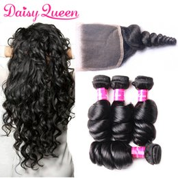 wet wavy hair 2019 - Brazilian Loose Wave Virgin Hair With Closure 8A Lace Closure With Bundles Wholesale Wet And Wavy Peruvian Malaysian Hum