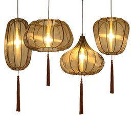 browning pendant china Canada - China Cloth Pendant Lights Brown Lantern Suspension LED Lamps For living room Antique study bedroom Home Lighting G985