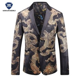 2cf7c7217 2017 Autumn Black Gold Blazer For Men Chinese style Printed Blazer Men Slim  Fit Velvet Suit Jacket Mens Stage Wear Male Singer