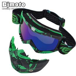 helmet half face mask 2019 - BJMOTO Motocross Goggles Detachable Mask Mouth Filter For Open Face Vintage Motorcycle Half Helmet Outdoor Sport Goggle