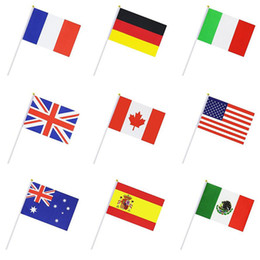 Wholesale World Cup Olympic Games National Flag cm Polyester Banner Flags Football Soccer Funs Hand Held Flag Cheering Banner