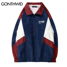 Full Zip Jacket Polyester Australia - GONTHWID 2018 Vintage Color Block Track Jackets 90s Casual Embroidery Patchwork Windbreaker Full Zip Up Coats Hip Hop Streetwear