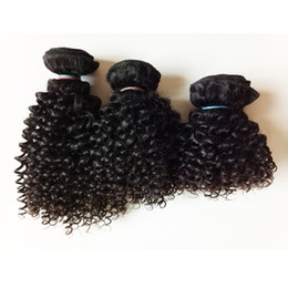 Discount stock hair extensions - Brazilian European virgin Hair extensions short bob type 8-12inch Kinky Curly hair double weft 100g pc 3pcs Indian remy