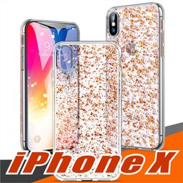 For iPhone X Clear Case with 3D Gold Sparkle Glitter on Hard PC Back Soft  TPU Cases with Bling Shining Design for Girls Women Apple iPhone 8 4c16098c0