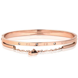 diamond party strands UK - Stainless steel Roman numeral bracelet rose-gold lady's bracelet heart bracelet with diamond in a stylish tri-color selection