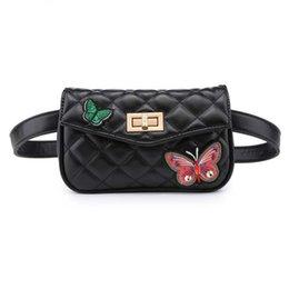 Mujeres de la manera Bolso pequeño de la cintura con la mariposa 2018 Último bolso del paquete de la cintura del diseñador Paquete de la bolsa del teléfono del viaje Fanny Pack Mujeres Mini bolso Bolsa