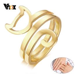 $enCountryForm.capitalKeyWord NZ - Vnox Lovely Fox Shaped Rings for Women Gold Color Stainless Steel Female Girl Alliance anillo