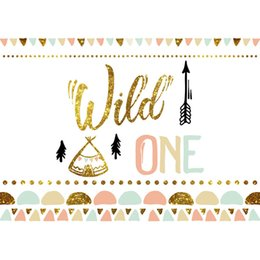spray tents NZ - Wild One Birthday Party Backdrop Printed Flags Gold Polka Dots Trees Tent Newborn Baby Shower Props Kids Photo Shoot Backgrounds