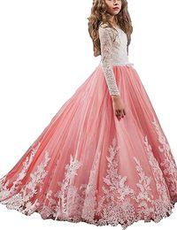Кружевные аппликации Цветочница Платье Святое Первое Причастие Платья для девочек Официальный случай