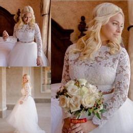Two piece wedding dress online shopping - Elagant High Low Lace Wedding Dresses High Neck Long Sleeves Dresses Tulle Layers Illusion Two Pieces Party Dresses Bridal Gowns