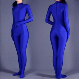 Wholesale SWH004 Blue Spandex Zentai Full Body Skin Tight Jumpsuit Zentai Suit Bodysuit Costume for Women Men Unitard Lycra Dancewear