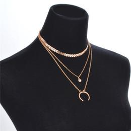 50a52f0d0b0d Classic Crystal Moon para Mujeres Gargantillas Collar de Cadena de Hueso de  Pescado de Múltiples Capas