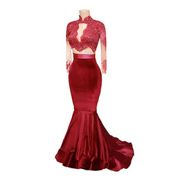 luxury crystal trumpet dresses UK - 2018 Long Sleeves Two Pieces Mermaid Prom Dress Burgundy Evening Dress Lace Beading Luxury Design Formal Party Dress Custom Made