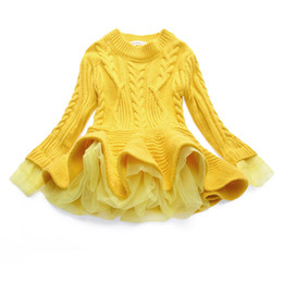 Wholesale knit a sweater for sale - Group buy Boutique Girls Clothes Newest Baby Girls Sweater Knitted Dress Long Sleeve Lace Jacquard Dresses Kids Cotton Warm Coat Outfits Colors