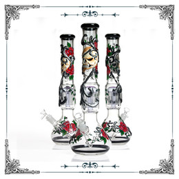 Perc hand PiPe online shopping - 18 inches Glass big Bong tree perc hand drawing Skull Rose pattern beaker bong smoking Water pipe heady glass with bowl