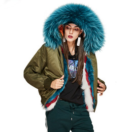 Chinese  New 2018 Winter High Fashion street women luxurious real fox fur lining bomber jacket thick warm raccoon fur short coat manufacturers