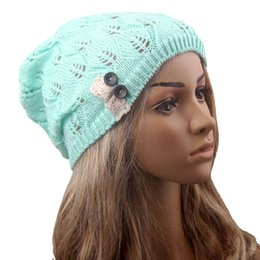 $enCountryForm.capitalKeyWord UK - Fashion Leaves Hollow Out Lace Button Knitting Hat Women Winter Warm Thin Slouchy Beanies Knitted Cap Lady Girls Skullies