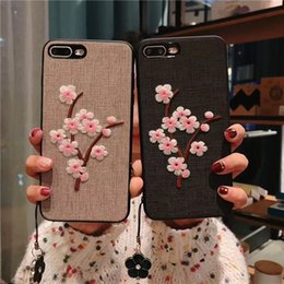 peach iphone NZ - Fabric Peach Blossom Embroidered Back Cover with Flower Pendant Wristband Bracelet Rope Phone Shell Stylish for iPhone X 10 6s 7 8 Plus