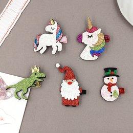 di hildren Accessori per capelli di Natale di colore rosa brillante Santa Snowman Unicorn Dinosaur Tornante svegli dei capelli del fumetto D001 clip in Offerta