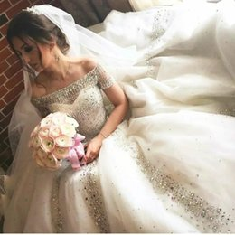 Cathedral Train Rhinestone Wedding Dresses UK - 2018 Ball Gown Wedding Dresses Arabic Bling Off Shoulder Short Sleeves Illusion Tulle Beads Crystal Rhinestones Cathedral Train Bridal Gowns