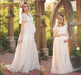 dddd768ab76f3 Elegant Maternity Pregnant Dresses 2018 Scoop Full Lace Floor Length Short  Sleeve Long Women Prom Evening Party Gowns abiti da ballo