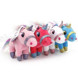PaPer stuffing online shopping - 15cm Unicorn Keychain Stuffed Animal Dolls Cartoon Unicorn Plush Toy Keychain Gift kids toys KKA5529