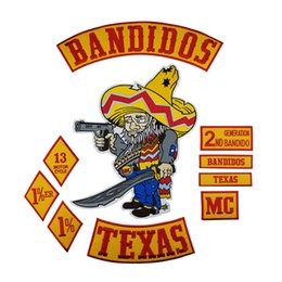 Bikers Back Patches Australia - Hot Sale BANDIDOS TEXAS PATCH MC Embroidered Full Back Large Pattern For Rocker Club Biker MC Patch Free Shipping