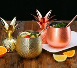 Special holiday giftS online shopping - 2018 latest personality stainless steel pineapple cup Moscow Mule pineapple cocktail cup special metal cup with lid