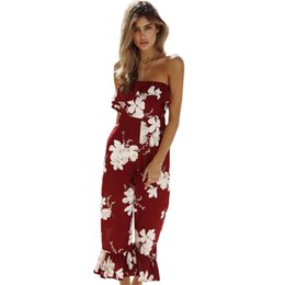 $enCountryForm.capitalKeyWord UK - Off Shoulder Floral Print Ruffles Wide Leg Women Jumpsuits Summer Chiffon Slash Neck Strapless SLim Fit Ropmers Macacao Feminino