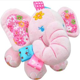 baby stroller toy elephant UK - Sozzy Baby Toys Music Pull Rattles Multifunctional Elephant Kids Bell Ring Paper Car Bed Hanging Strollers Toys pink blue