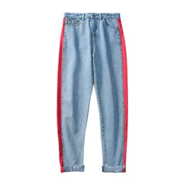 China 2018 Summer New Product Refreshing Striped Curling Edge Cropped Pants Men's Trend Straight Jeans Casual Thin Mens Straight Jeans cheap jeans products suppliers