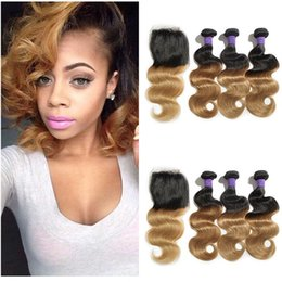 $enCountryForm.capitalKeyWord NZ - Dark Root Honey Blonde Human Hair Weaves With Lace Closure 1b 27 Two Tone Ombre Hair With Closure Body Wave Virgin Brazilian Hair