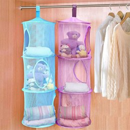 bra toy 2019 - 3 Tier Mesh Hanging Storage Pocket Toys Bedroom Door Wall Closet Home Organizer Bags Foldable Nest Basket Bra Cylindrica