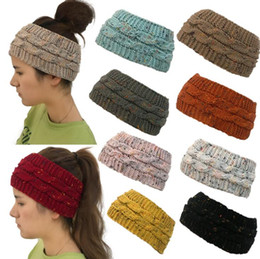 China Knitted Headband 14 Colors Colorful Confetti Winter Warm Cable Knit Earflaps Cap Hair Band Twist Headbands Headwear OOA5459 cheap skull hair bands suppliers