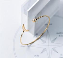 charms for bangles NZ - Gold Moon Bangle 925 Silver Jewelry Boho Simple Charms Vintage Minimalism Birthday Gift Jewelry Bracelets for Women