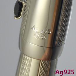 Pluma de bola de roller de plata de alta calidad AG925 con papelería de la oficina de la escuela de la oficina Pensión de la bola de escritura clásica para el regalo del negocio en venta