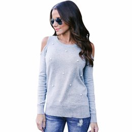 women s open shoulder tops UK - autumn fashion open shoulders female tops For women pearls tops and blouses for women with round neck Blouse with long sleeves shirt solid