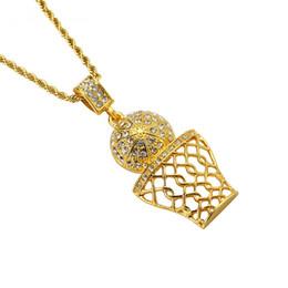$enCountryForm.capitalKeyWord Canada - Fashion Men Micro Rock Rap Hip Hop Basketball Pendant Necklaces For 75cm Rough Long Chain Gold Silver Necklace Rhinestone Design