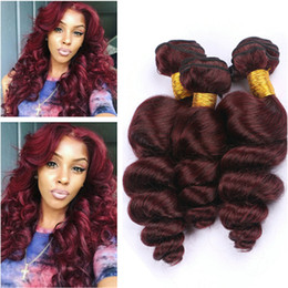 Wine Red Hair Color Indian Australia - Top Quality Virgin Indian Human Hair #99J Wine Red Loose Wave Weave Bundles 3Pcs Lot Burgundy Virgin Remy Human Hair Extensions Double Weft