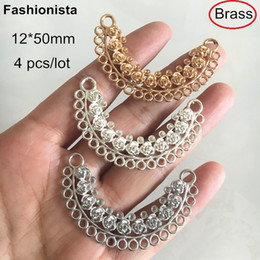 Multi Connectors Australia - 4 pcs High Quality Brass Casting Jewelry Connectors 12*50mm,Multi-loop Flower Decorated Brass Connectors,Gold-color,Silver-color